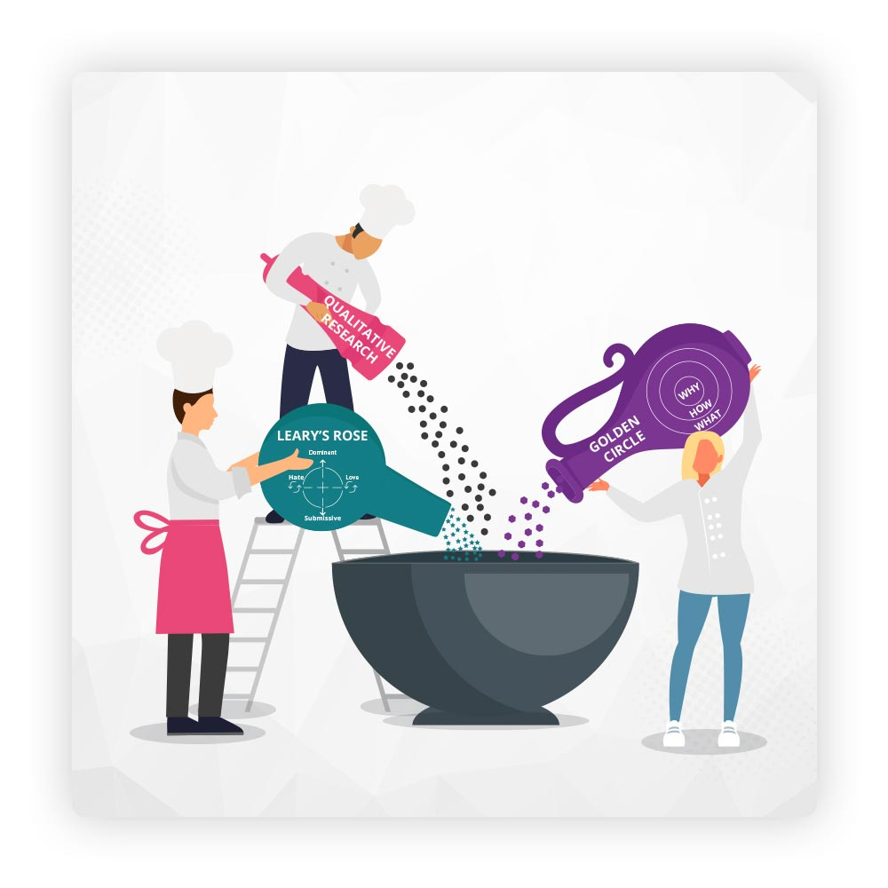 Illustration of cooks adding ingredients to a bowl