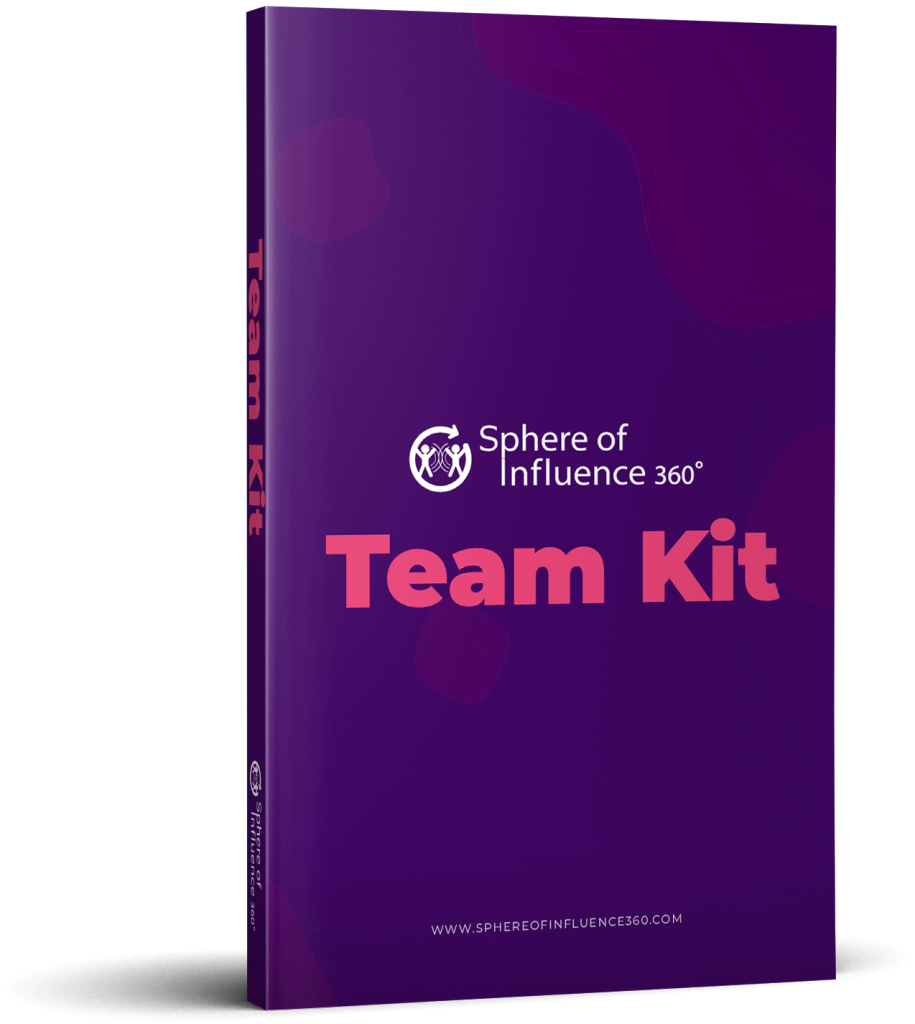 Cover e-book Sphere of Influence 360º Team Kit with purple color bacjground and magenta colored text