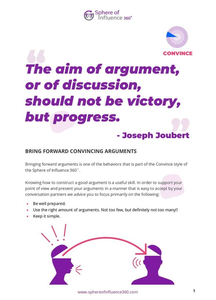 Thumbnail image exercise PDF titled Convince - Bring forward arguments