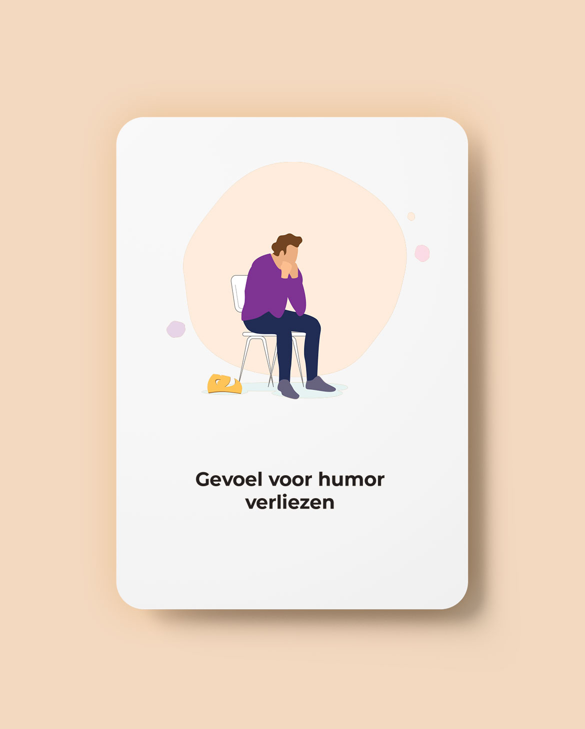 Playing card with an illustration of a guy sitting on a chair