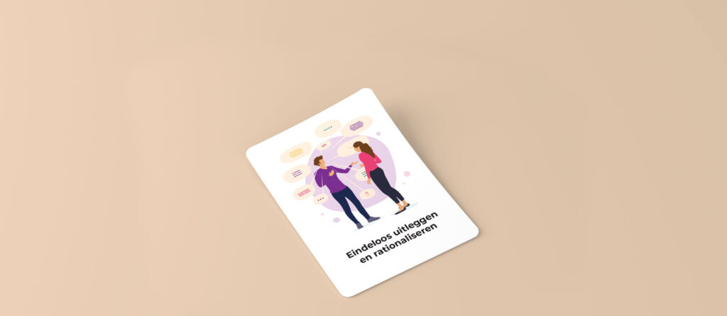 Playing card with an illustration of a man with a purple shirt with a lot of speech bubbles talking to a woman in magenta shirt