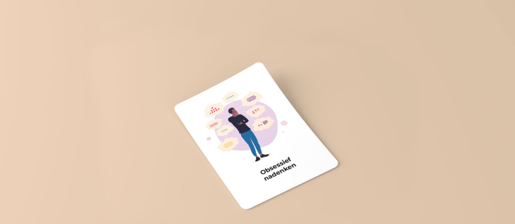Card in perspective with a man with a lot of though bubbles around his head.