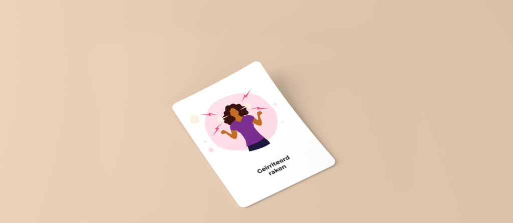 Card with an illustration of a young woman with thunder bolts around her head