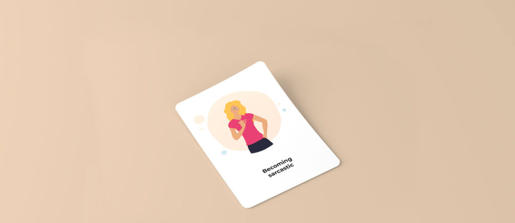 Illustration of a woman with blond hair and magenta shirt indicating something small with her fingers